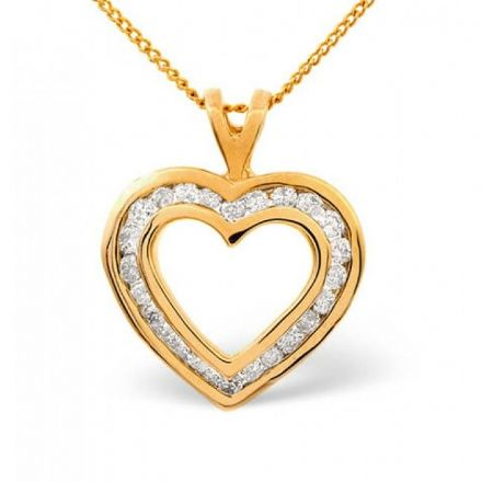 9K Gold 0.50ct Diamond Pendant, E1084